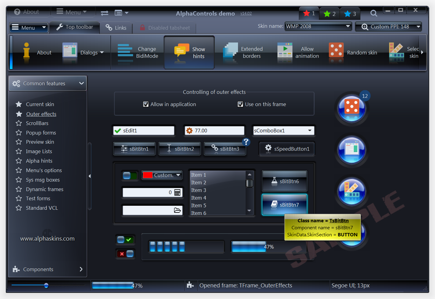 Click to view AlphaControls Lite Edition 7.65 screenshot